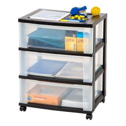 "Office Depot® Brand Plastic 3-Drawer Storage Cart, 27"" x 21-1/2"" x 15"", Black"
