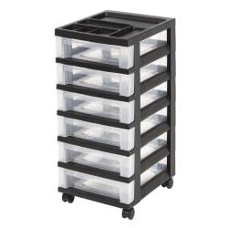 "Office Depot® Brand Plastic 6-Drawer Storage Cart, 26 7/16"" x 12 1/16"" x 14 1/4"", Black"