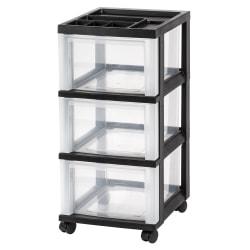 "Office Depot® Brand Plastic 3-Drawer Storage Cart, 26 1/5"" x 12 1/10"" x 14 3/10"", Black"