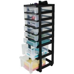 "Office Depot® Brand Plastic Storage Tower Cart, 8 Drawers, 41 4/5""H x 12 1/10""W x 14 2/5""D, Black"