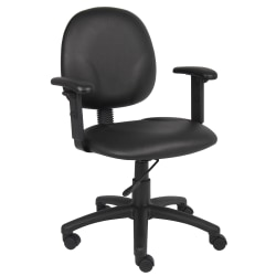 Boss Diamond Antimicrobial Task Chair with Adjustable Arms, Black