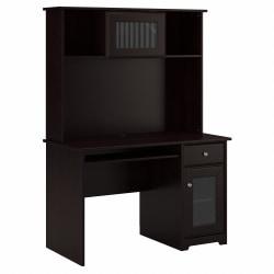 "Bush Furniture Cabot 48""W Small Computer Desk With Hutch And Keyboard Tray, Espresso Oak, Standard Delivery"