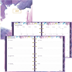 Rediform Passion Weekly/Monthly MiracleBind Planner - Julian Dates - Weekly, Monthly - 1 Year - January till December - 1 Week, 1 Month Double Page Layout - Twin Wire - Multi - Fibers