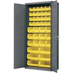 """Akro-Mils AkroBin Cabinet - 36"""" x 18"""" x 78"""" - Flush Door(s) - 1000 lb Load Capacity - Heavy Duty, Back Panel, Durable, Key Lock, Welded - Gray, Yellow - Powder Coated - Steel, Metal, Steel"""