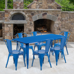 """Flash Furniture Commercial-Grade Rectangular Metal Table Set With 6 Stack Chairs, 29-1/2""""H x 31-1/2""""W x 63""""D, Blue"""