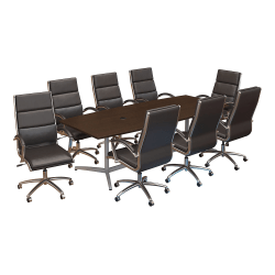 """Bush Business Furniture 96""""W x 42""""D Boat Shaped Conference Table with Metal Base and Set of 8 High Back Office Chairs, Mocha Cherry, Standard Delivery"""