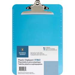 "Sparco Plastic Clipboard, 8 1/2"" x 12"", Blue"