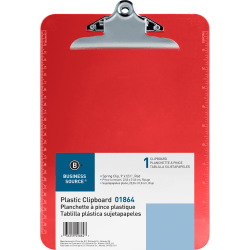 """Sparco Plastic Clipboard, 8 1/2"""" x 12"""", Red"""