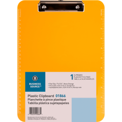 """Sparco Plastic Clipboard With Flat Clip, 8 1/2"""" x 11"""", Neon Orange"""