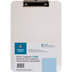 "Sparco Plastic Clipboard With Flat Clip, 8 1/2"" x 11"", Clear"