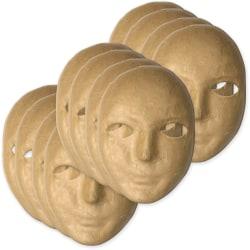 "Creativity Street Paper Mache Masks - Decoration - 8"" x 6"" x 3"" - 12 / Set - Natural - Paper"
