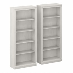 Bush Furniture Saratoga Tall 5-Shelf Bookcases, Linen White Oak, Set Of 2 Bookcases, Standard Delivery