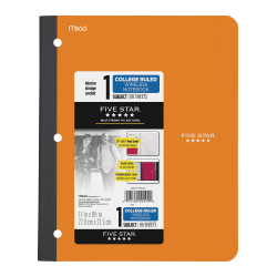 """Five Star 11"""" 1-subject Wireless Notebook - 80 Sheets - Sewn - College Ruled - 3 Hole(s) - 9 1/8"""" x 11"""" - Black Cover - Plastic Cover - Pocket, Perforated, Bleed Resistant, Easy Tear, Durable Cover - 1Each"""