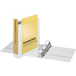 "Cardinal EconomyValue ClearVue Slant-D Ring Binder - 2"" Binder Capacity - Letter - 8 1/2"" x 11"" Sheet Size - 540 Sheet Capacity - 2 1/2"" Spine Width - 3 x D-Ring Fastener(s) - 2 Inside & Back Pocket(s) - Vinyl - White -"