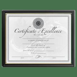 """DAX Certificate Frame, 8-1/2"""" x 11"""", Black/Gold"""