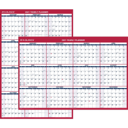 "At-A-Glance Jumbo Erasable/Reversible Yearly Wall Planner - Yearly - 1 Year - January 2021 till December 2021 - 48"" x 32"" White Sheet - 1.25"" x 1.88"" , 1.63"" x 1.63"" Block - Red - Erasable, Reversible, Write on/Wipe off - 1 Each"