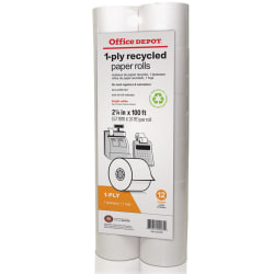 """Office Depot® Brand 1-Ply Paper Rolls, 2 1/4"""" x 100', 70% Recycled, White, Pack Of 12"""