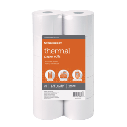 "Office Depot® Thermal Paper Rolls, 1 3/4"" x 230', White, Pack Of 10"