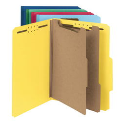 Smead® Pressboard Classification Folders, 2 Dividers, Letter Size, 100% Recycled, Assorted Colors (No Color Choice), Pack Of 5