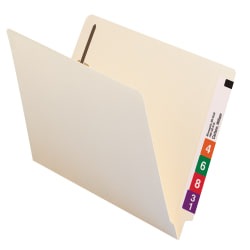 Smead® Shelf-Master® End-Tab Fastener Folders, Straight Cut, Letter Size, 100% Recycled, Manila, Pack Of 50