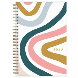 """Blue Sky™ Brit + Co Frosted Weekly/Monthly Planner, 5"""" x 8"""", Rainbow Swirls, January To December 2022, 136014"""
