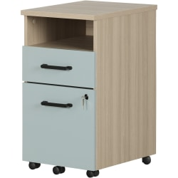 """South Shore Zelia 16""""W Lateral 2-Drawer Mobile File Cabinet, Soft Elm/Steel Blue"""