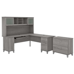 """Bush Furniture Somerset 72""""W L-Shaped Desk With Hutch And Lateral File Cabinet, Platinum Gray, Standard Delivery"""