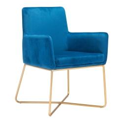 Zuo Modern Honoria Arm Chair, Dark Blue/Gold