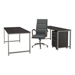 "Bush Business Furniture 400 Series 72""W x 30""D Table Desk with Credenza Mobile File Cabinet and High Back Office Chair, Storm Gray, Standard Delivery"