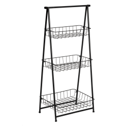 "Honey Can Do Folding A-Frame Entryway Shelf, 3 Tiers, 35-13/16""H x 17-5/16""W x 11-13/16""D, Black"