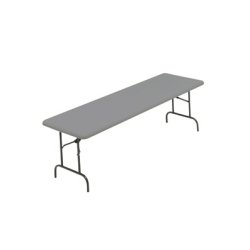 "Iceberg IndestrucTable TOO 1200 Series Folding Table - Rectangle Top - Round Leg Base - 96"" Table Top Length x 30"" Table Top Width x 1"" Table Top Thickness x 1"" Table Top Diameter - Steel, Polyethylene, High-density Polyethylene (HDPE) Polywood"