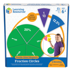 """Learning Resources® Double-Sided Magnetic Fraction Circles, 7 1/2"""", Grades 1-9, Set Of 9"""