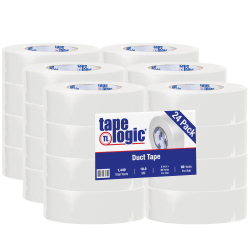 """Tape Logic® Color Duct Tape, 3"""" Core, 2"""" x 180', White, Case Of 24"""