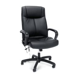 OFM Essentials Bonded Leather High-Back Massage Chair, Black/Silver