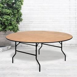 "Flash Furniture Round Folding Banquet Table, 30""H x 72""W x 72""D, Natural/Black"