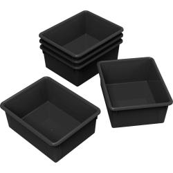 Storex® Deep Storage Trays, Medium Size, Black, Pack Of 5