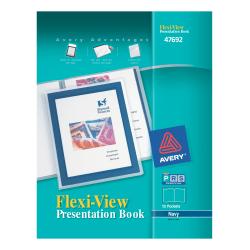 Avery® Flexi-View Presentation Book, 12 Pockets, Blue