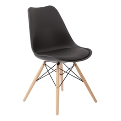 Ave Six Allen Guest Chair, Black/Natural Wood