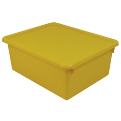 "Stowaway® 5"" Letter Box, With Lid, 5""H x 10 1/2""W x 13""D, Yellow, Pack Of 3"