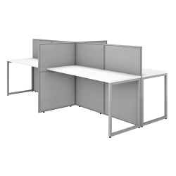 "Bush Business Furniture Easy Office 60""W 4-Person Cubicle Desk Workstation With 45""H Panels, Pure White/Silver Gray, Standard Delivery"
