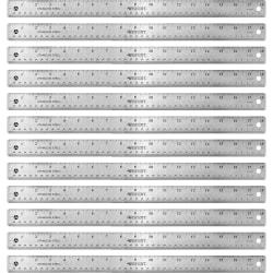 "Westcott Stainless Steel Rulers - 18"" Length 1"" Width - 1/16, 1/32 Graduations - Metric, Imperial Measuring System - Stainless Steel - 12 / Box - Stainless Steel"