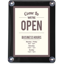 """deflecto Double-sided Window Display Sign - 1 Each - Come in, we're open Print/Message - 8.5"""" Width x 11"""" Height - Rectangular Shape - UV Resistant, Heat Resistant, Double-sided - Clear"""