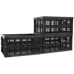 """Mount-It! Work-It! Collapsible Milk Crates, 22""""H x 15""""W x 7""""D, Set Of 3 Crates"""