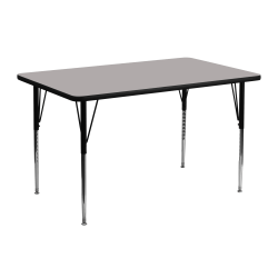 """Flash Furniture 48""""W Rectangular HP Laminate Activity Table With Standard Height-Adjustable Legs, Gray"""