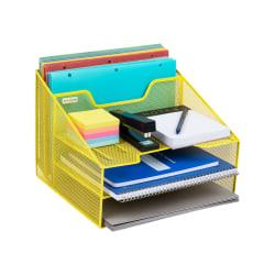 "Mind Reader 5-Compartment Desk Organizer, 9-1/8""H x 12-1/2""W x 11""D, Yellow"