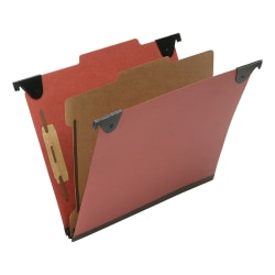 "SKILCRAFT 1-Divider Hanging Classification Folders - 1"" Folder Capacity - Letter - 8 1/2"" x 11"" Sheet Size - 2/5 Tab Cut - Top Tab Position - 1 Divider(s) - 25 pt. Folder Thickness - Pressboard, Kraft, Fiber - Red - Recycled - 10 / Box"