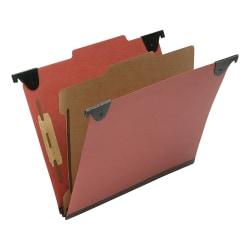 "SKILCRAFT 2/5 Tab Cut Letter Recycled Hanging Folder - 1"" Folder Capacity - 8 1/2"" x 11"" - Top Tab Position - 1 Divider(s) - Pressboard, Kraft, Fiber - Red - 60% - 10 / Box"