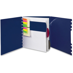 "TOPS Ampad Versa Crossover Notebook - Letter - 60 Sheets - Spiral - 24 lb Basis Weight - 8 1/2"" x 11"" - Navy Cover - Poly Cover - Repositionable, Pocket, Micro Perforated - 1Each"