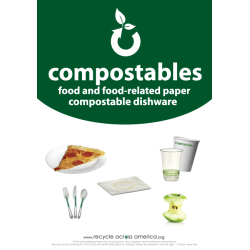 """Recycle Across America Compostables Standardized Recycling Labels, COMPS-1007, 10"""" x 7"""", Dark Green"""