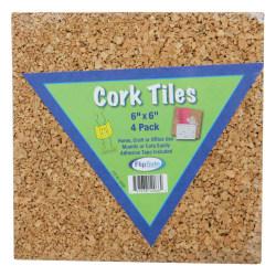 """Flipside Cork Wall Tiles, 6"""" x 6"""", Light Brown, Pack Of 4"""